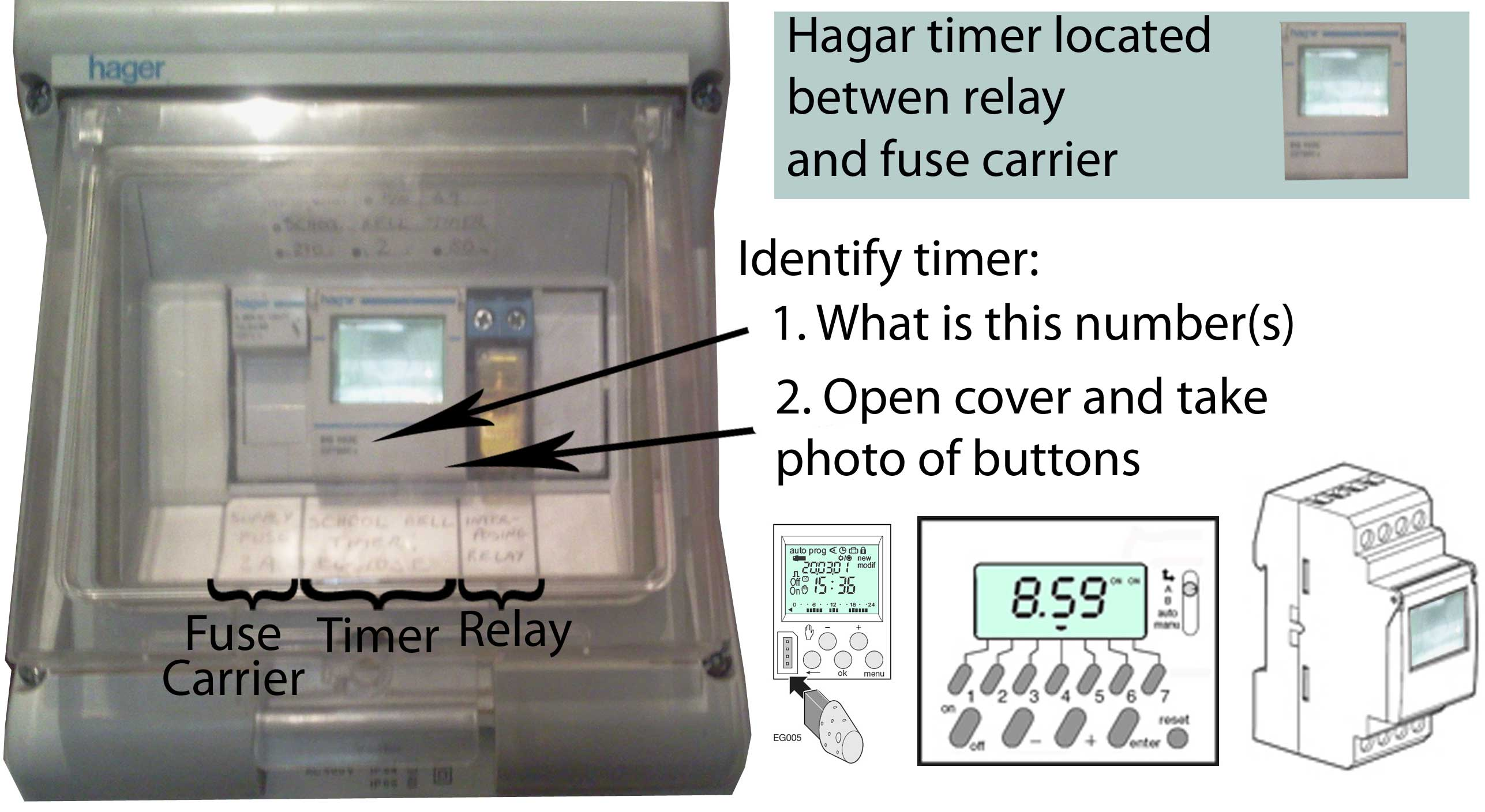 Hager Fuse Box Problems 23 Wiring Diagram Images Diagrams Car Troubleshooting Hagar Timers And Manuals Timer Fuseholde Relay At