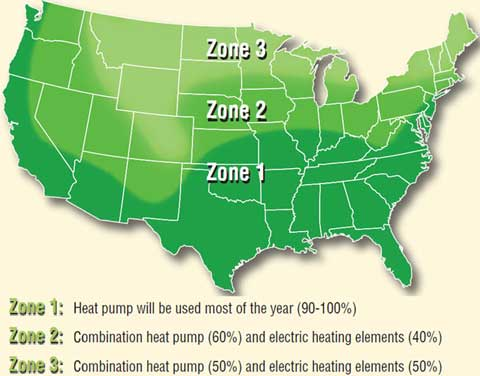 Heat pump water heater zone chart