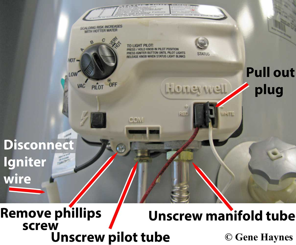 How To Replace Honeywell Gas Control Valve Wiring Thermostat 2 Wires 1 Pull Out Plug With Red And White Located On Front Of Piezo Igniter Wire Comes Apart 3 Unscrew Manifold Tube 4 Pilot