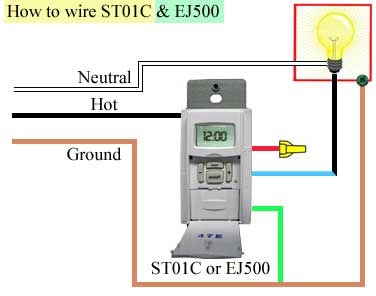 How to wire ST01C and EJ500 how to program and install st01c timer intermatic timer switch wiring diagram at panicattacktreatment.co