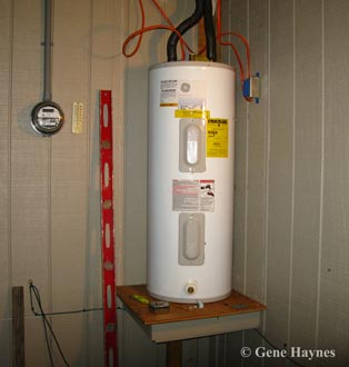 Water heater on porch