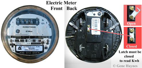 Latch on back of electric meter