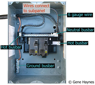 Wires connect to subpanel