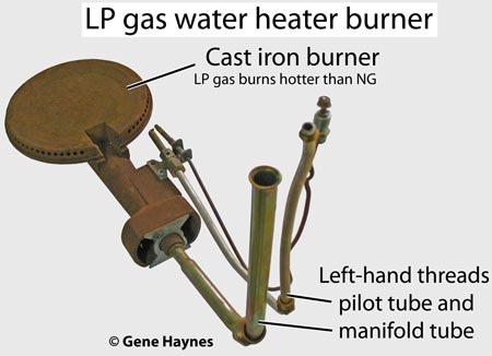 LP gas water heater burner