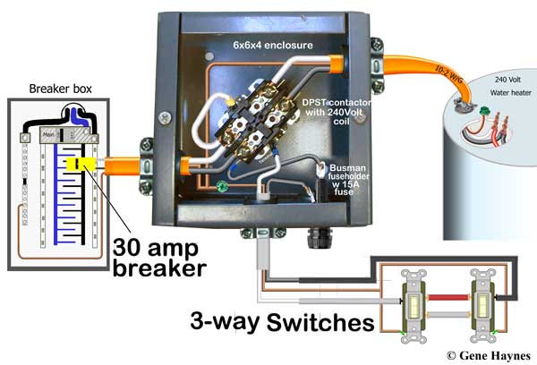 control water heater with 3-way switches