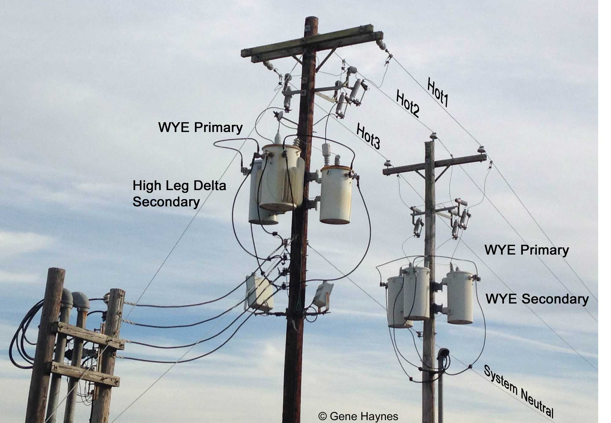 Delta Bank Wired Open Transformer Wiring Diagram Wye And Services High Leg Wires Come Off Center Wire Comes