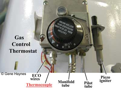 Water heater gas control thermostat