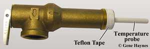 TP valve with teflon tape