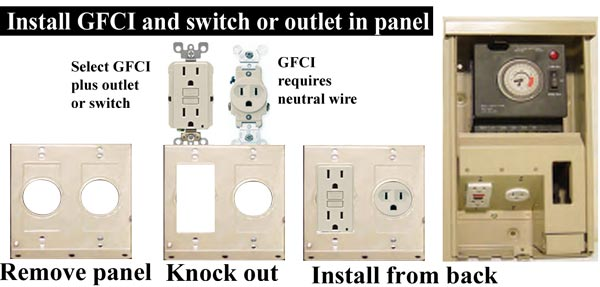 Install GFCI plus outlet or switch