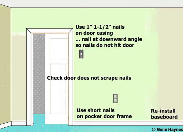 Re Install Door Trim Sand Lightly And Clean Ly A Coat Of Paint Before Installation Be Careful To Use Short Nails On The Pocket Frame