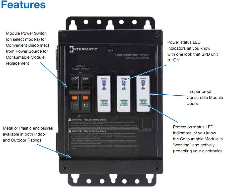 how to wire whole house surge protector intermatic modular surge protection replace module instead of hardwiring another device after surge event modules snap into place