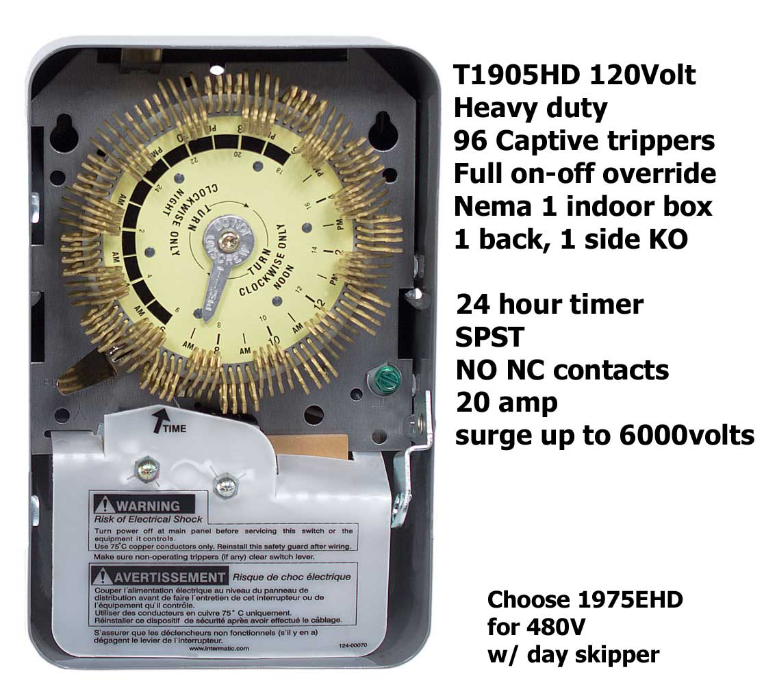 How To Wire Intermatic T1905 T1975 Series Timers Pool Timer Wiring Diagram Larger Image T1905hd