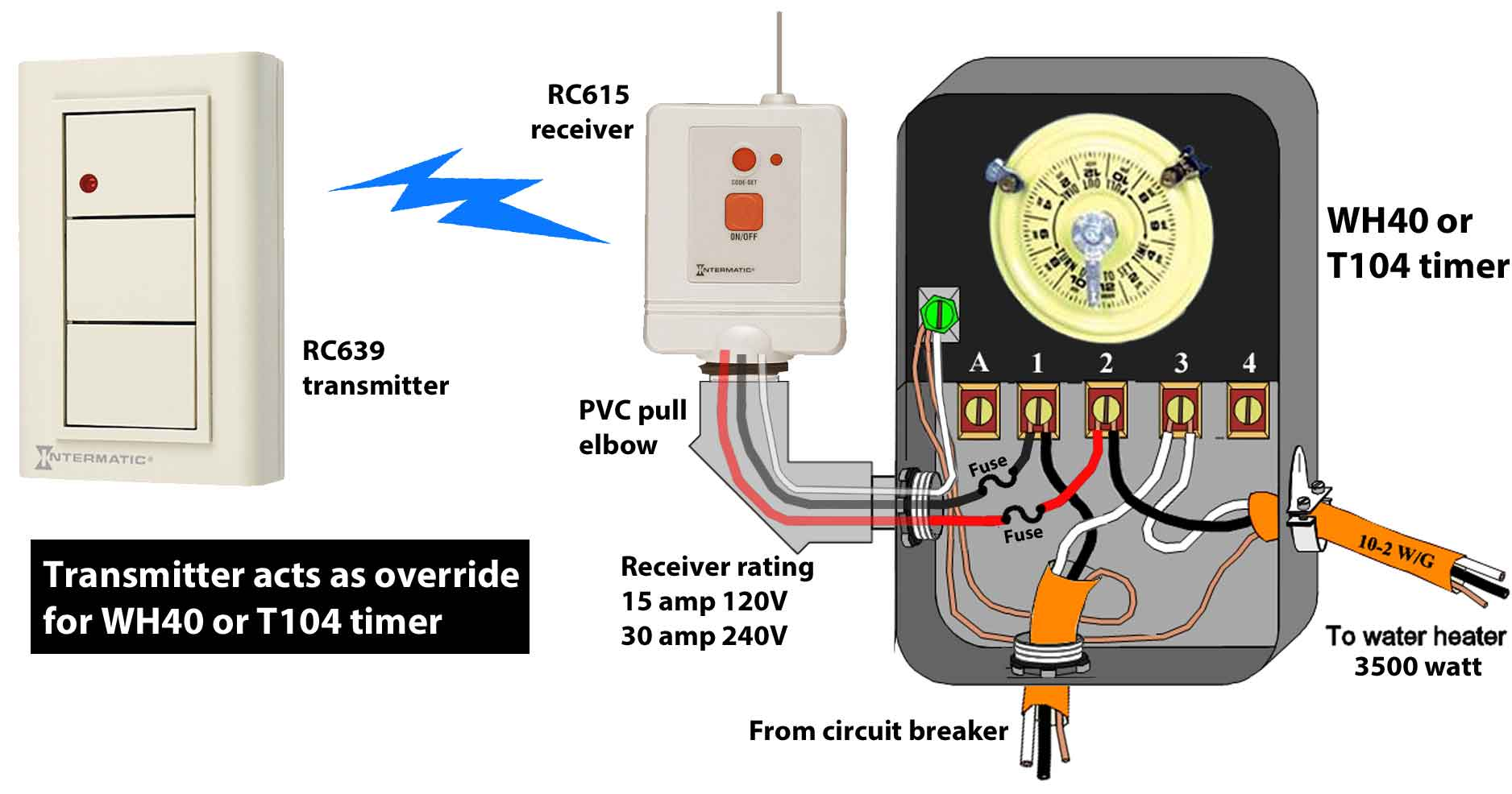 how to wire wh40 water heater timer