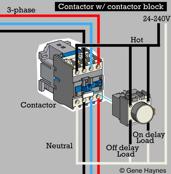 3 basic ways to wire contactor block  top illustration: one hot leg from  three-phase + neutral  add circuit control hot leg from three-phase