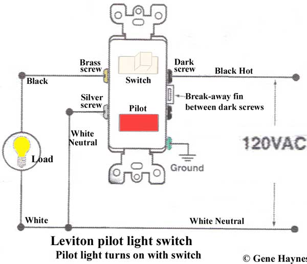 Leviton pilot switch 600 how to wire cooper 277 pilot light switch 3 way switch with pilot light wiring diagram at creativeand.co