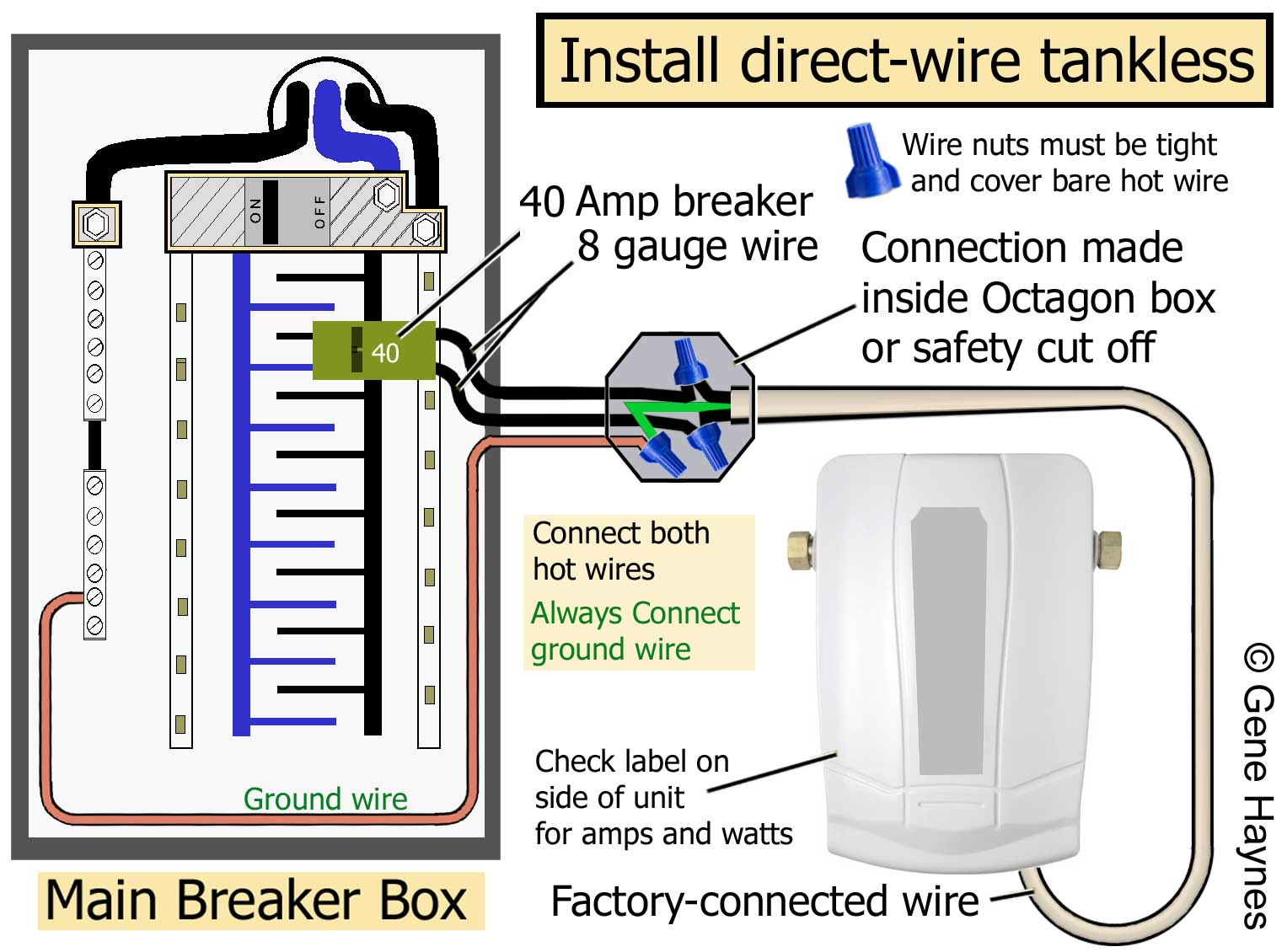 larger image, factory-connected wire/ or pigtail attached to tankless  read  rating plate on side of unit for amps and watts