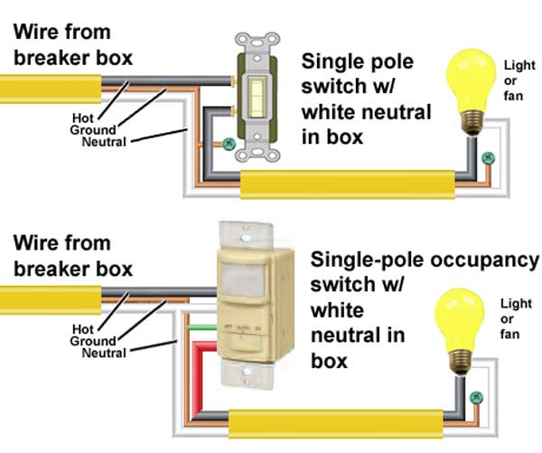 How to wire occupancy sensor and motion detectors  Way Switch Wiring Diagram Neutral on 3 way switch electrical, volume control wiring diagram, 3 way switch wire, 3 way switch installation, 3 way switch cover, circuit breaker wiring diagram, easy 3 way switch diagram, 3 way switch schematic, 3 way switch with dimmer, four way switch diagram, 3 way switch help, three switches one light diagram, gfci wiring diagram, 3 way switch troubleshooting, two way switch diagram, 3 way switch lighting, 3 way light switch, 3 wire switch diagram, 3 way switch getting hot,