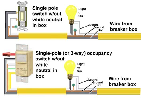 how to wire occupancy sensor and motion detectors Single Pole Light Diagram