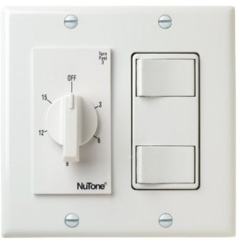 4 Function Countdown Timer And Double Switch Nutone VS69WH For Bathroom Fan Light Heater 1 HP 125V 2HP 250V SPST Not 3 Way
