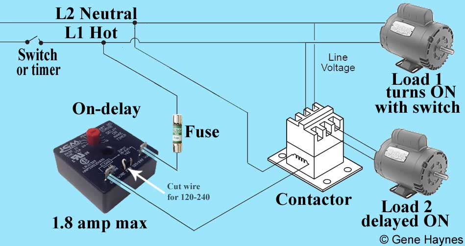 ON delay timer diagram 223 how to wire on delay timer timer and contactor wiring diagram at alyssarenee.co
