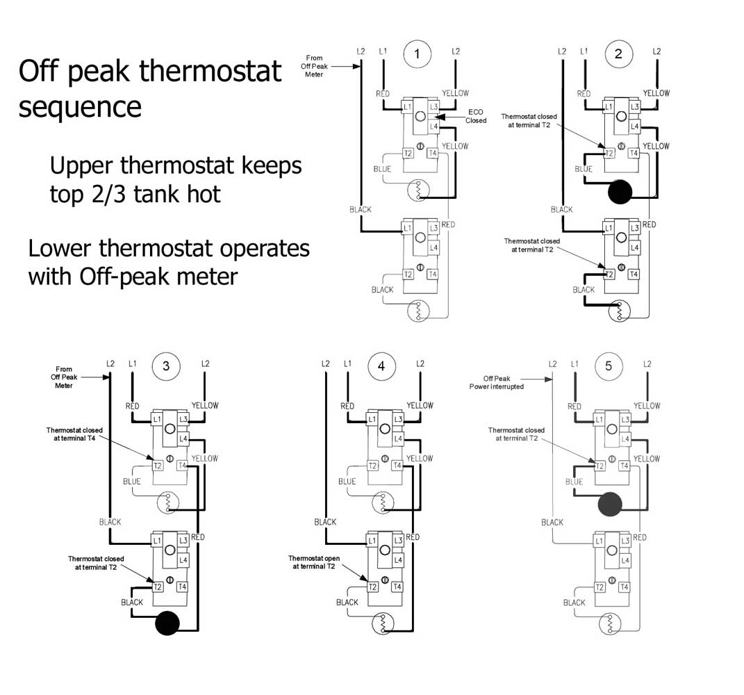 Off peak thermostat sequence 1400 how to wire water heater thermostat Electric Water Heater Circuit Diagram at crackthecode.co