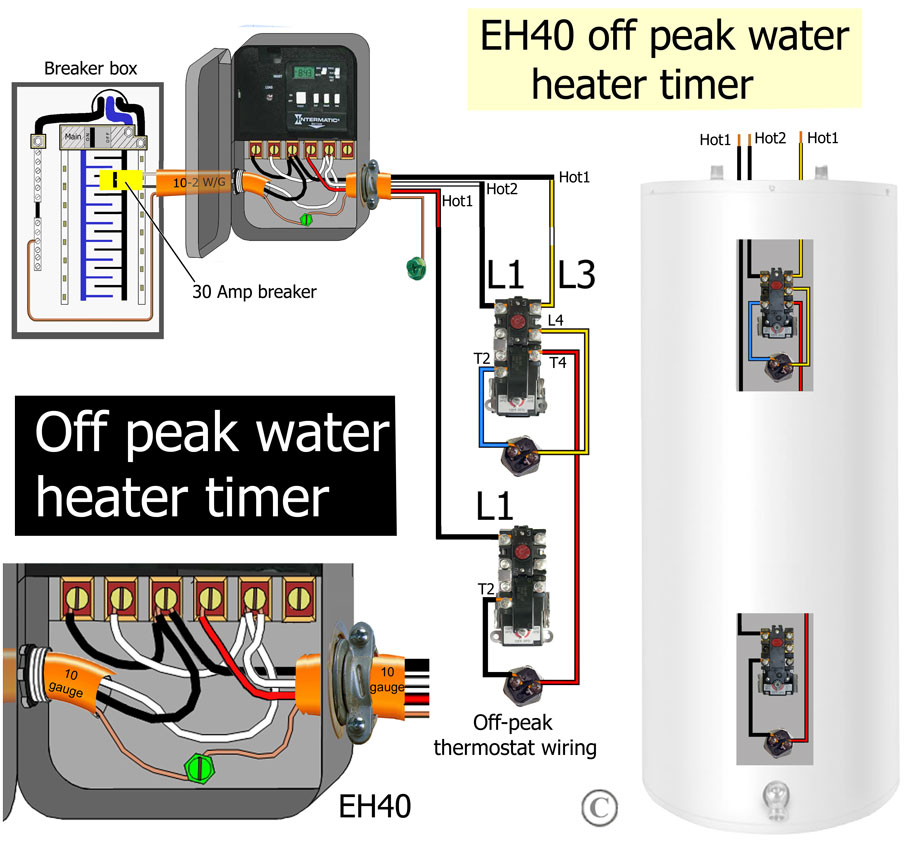 How to wire off-peak water heater thermostats: Off Peak Water Heater Wiring Schematic on