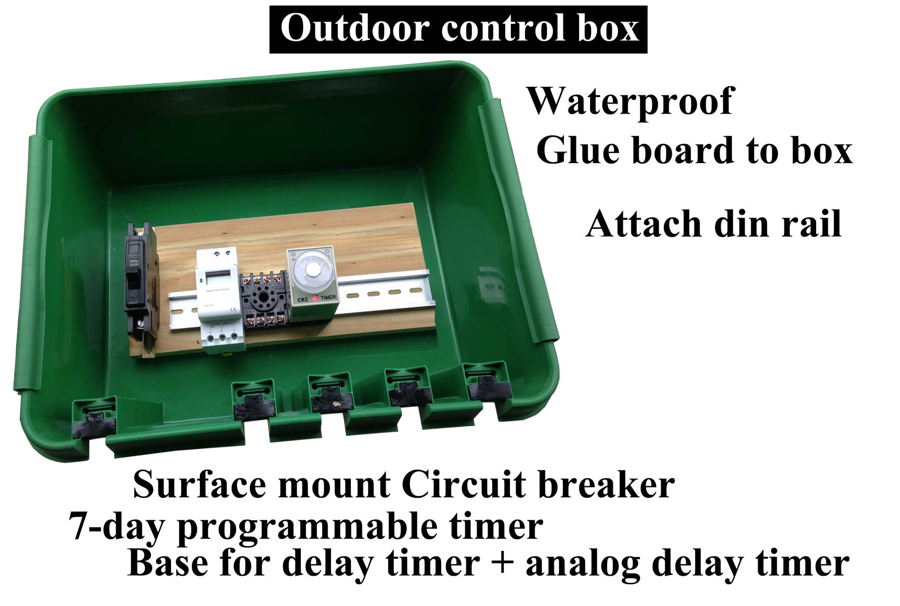 Electric Boxes And Enclosures 24 Hour Timer Analog Din Rail Mounted 1 Pole 16 Amp Larger Image