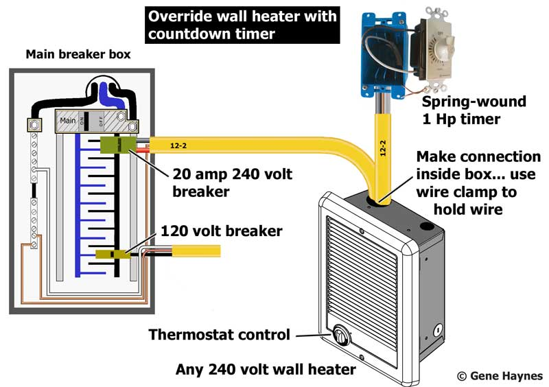 override bathroom heater with timer rh waterheatertimer org Wall Heater 240V Small Room wiring 220v wall heater