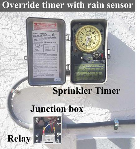 Override sprinkler timer with rain sensor
