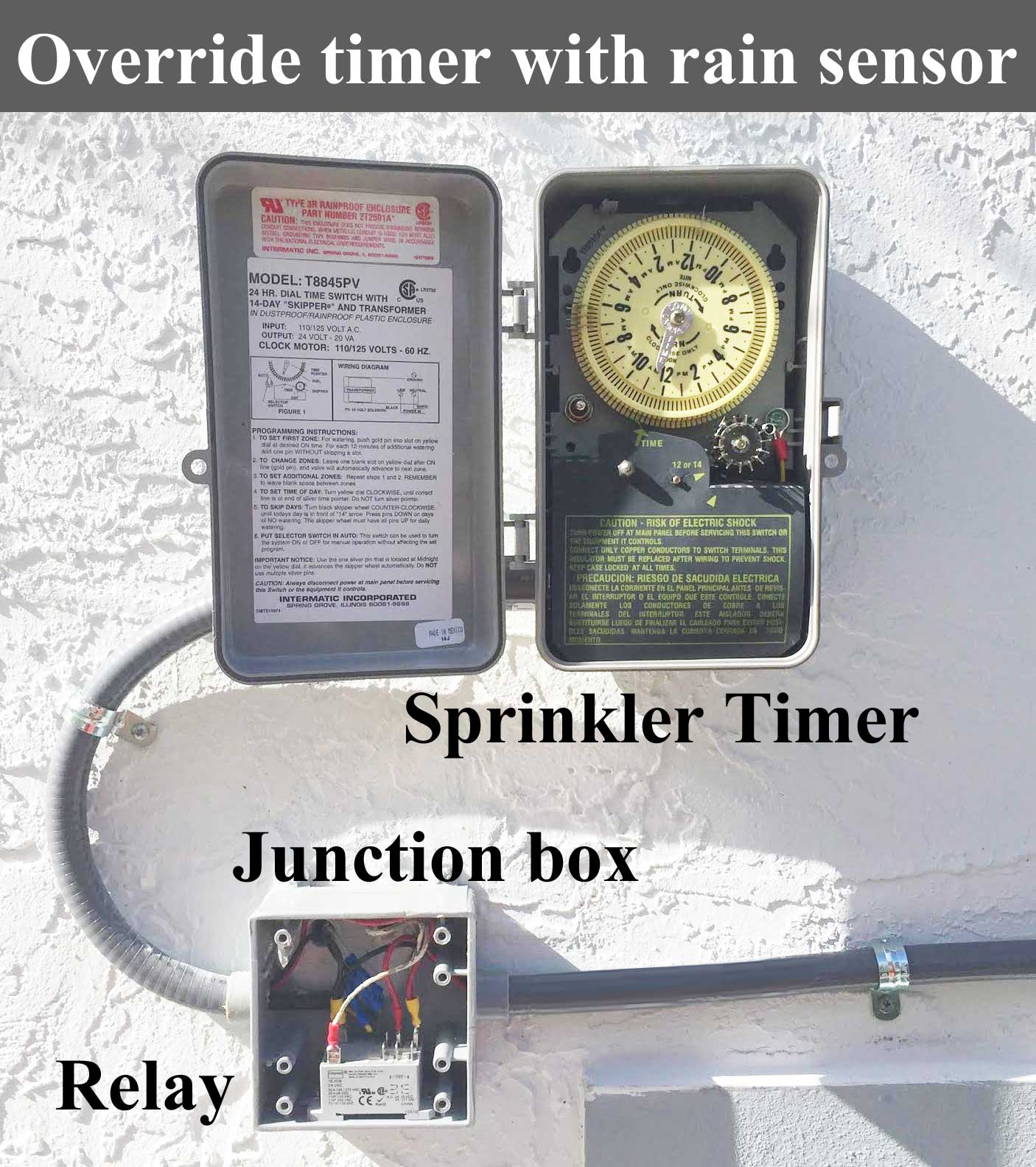 Override timer with rain sensor how to wire intermatic sprinkler and irrigation timers and manuals intermatic t8845pv wiring diagram at edmiracle.co