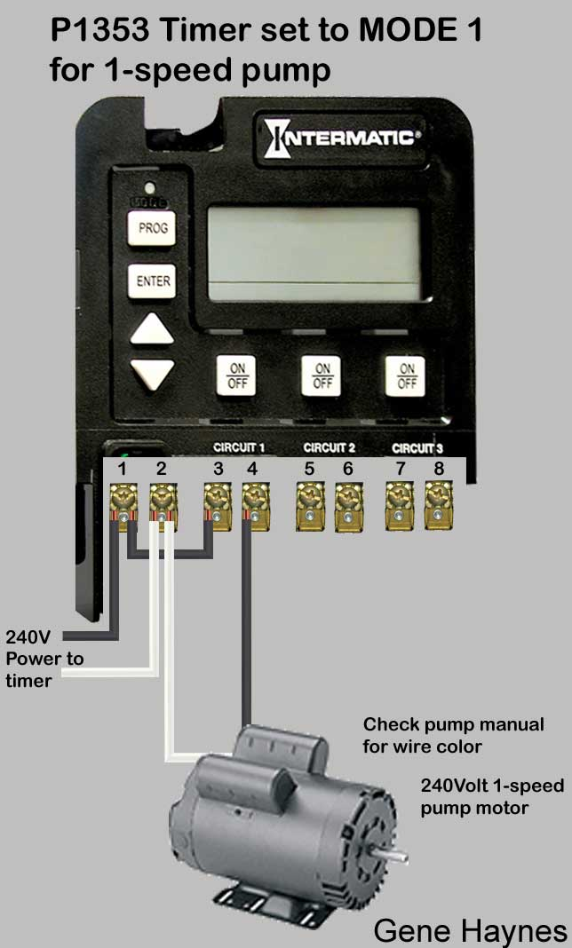 larger images, wiring for 1 speed pump  uses p1353 digital timer