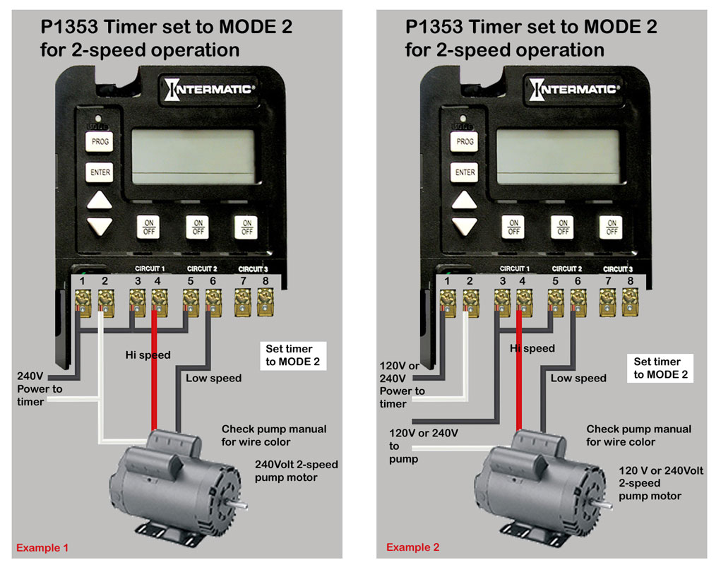 solved wiring diagrama for timer p1353me fixya by selecting mode 2 or 4 the timer protects against programming conflicts that would turn on both speeds at same time and cause electrical problem