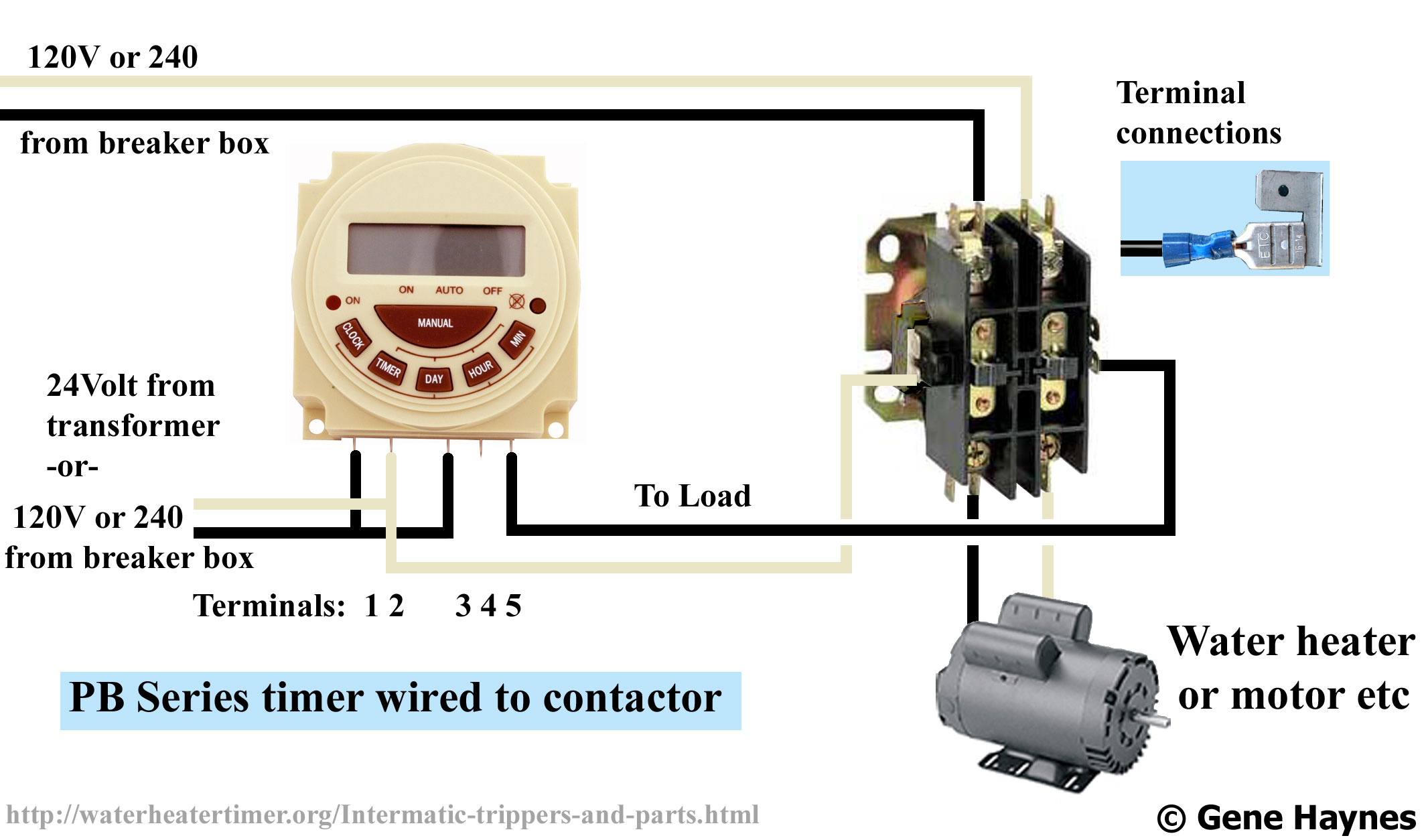 Larger image, Connect modular timer to contactor. PB series  Battery-operated/ pool spa timer 7 programs 7-day 0r 24 hour. 120V or 240V  SPDT NO NC