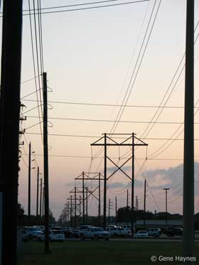 Power lines leave substation