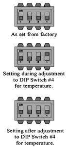 set dip switches to adjust temperature