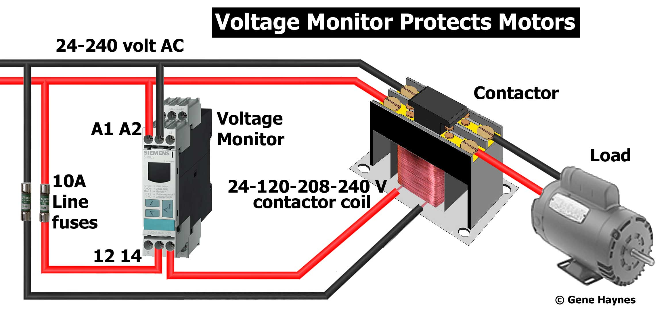 Larger image, Siemens Single-phase Voltage monitor. Rated 24-240 volt AC