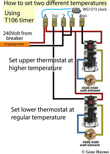 control water heater with T106 timer