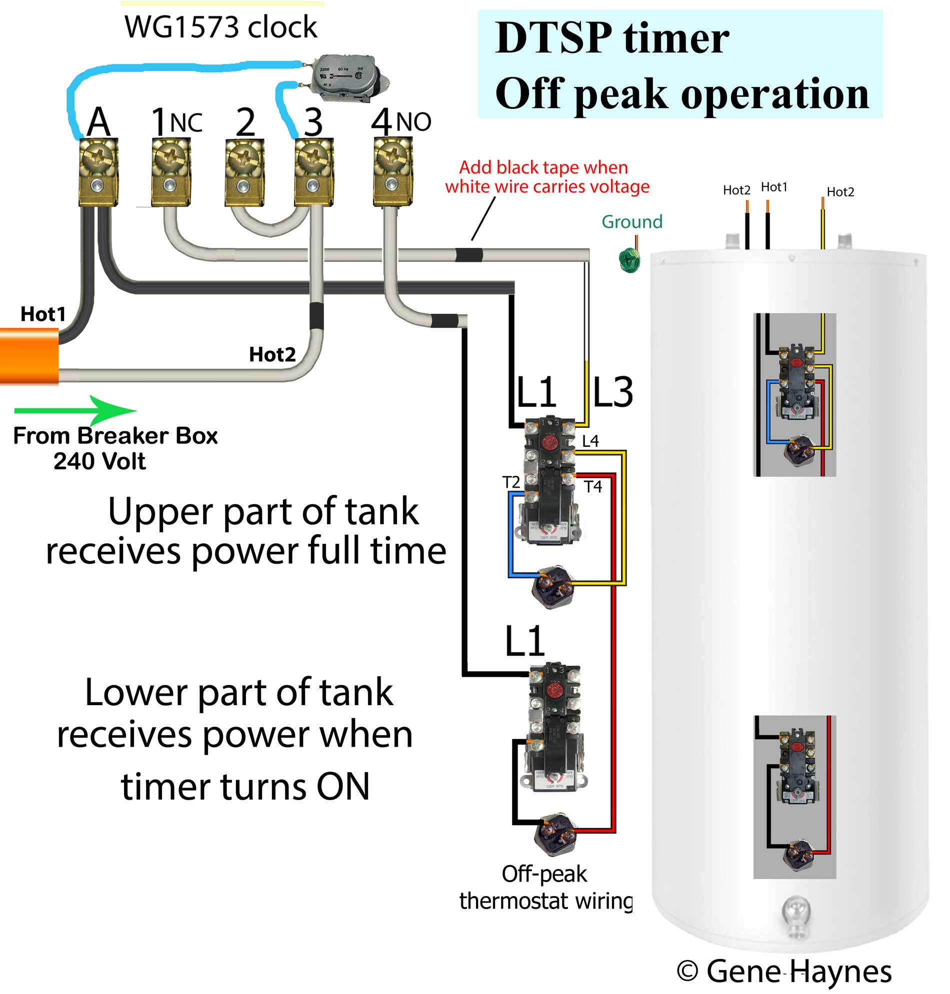 How to wire off-peak water heater thermostats: | Hydro Hot Wiring Diagram |  | Waterheatertimer.org