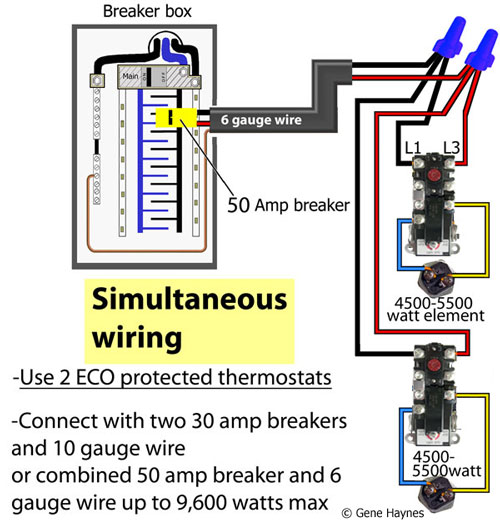 Simultaneous water heater wiring/ both thermostats operate independently