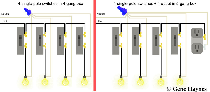 Single pole switches in 4 gang how to wire switches Residential Wiring Junction Box at fashall.co