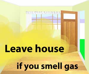 Leave house if you smell gas
