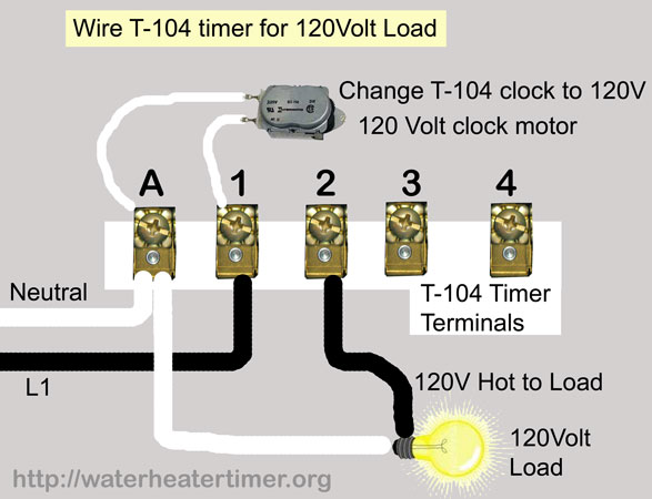 how to wire intermatic t104 and t103 and t101 timers rh waterheatertimer org intermatic timer t104p3 wiring diagram Simple Wiring Diagrams