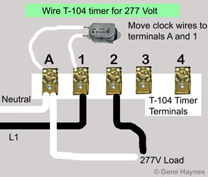 Wire T104 timer for 277 volts
