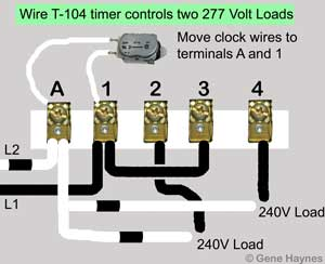 T104 controls two 277 volt loads