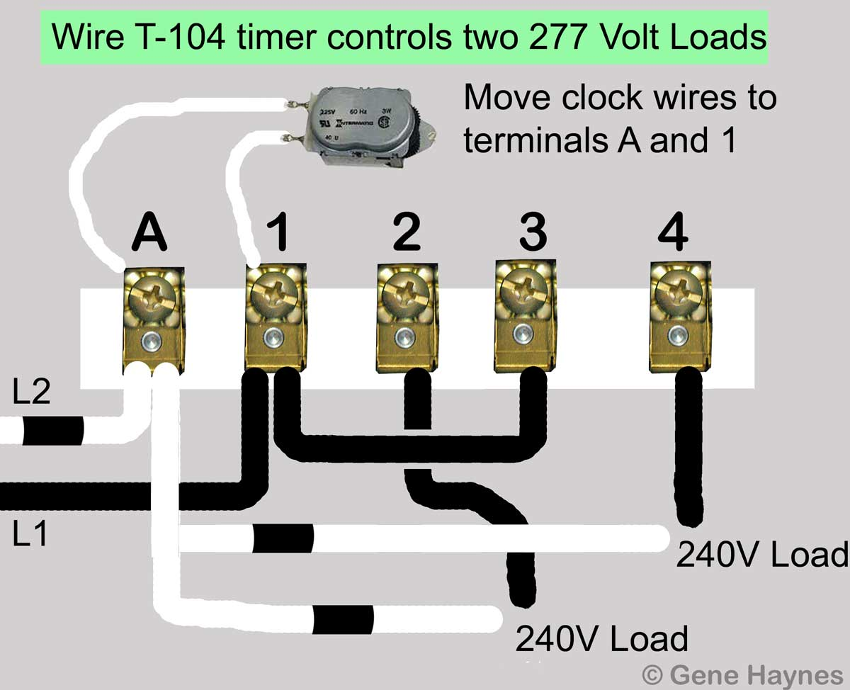 How To Wire Intermatic T104 And T103 T101 Timers 277 Volt Light Wiring Diagram Larger Image T 104 Two Loads Move Motor Leads Terminals A 1 Add Jumper From Terminal 3
