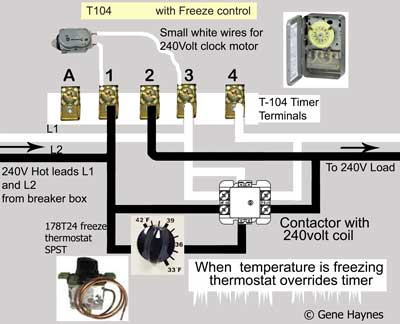 how to wire intermatic t104 and t103 and t101 timers t104 ze wiring