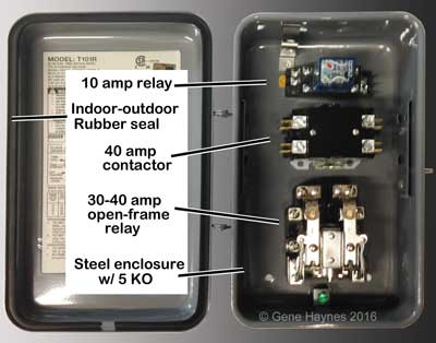 Intermatic enclosure with relay and contactor