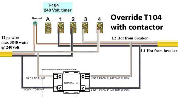 time clock override switch diagram time image water heater contactors on time clock override switch diagram