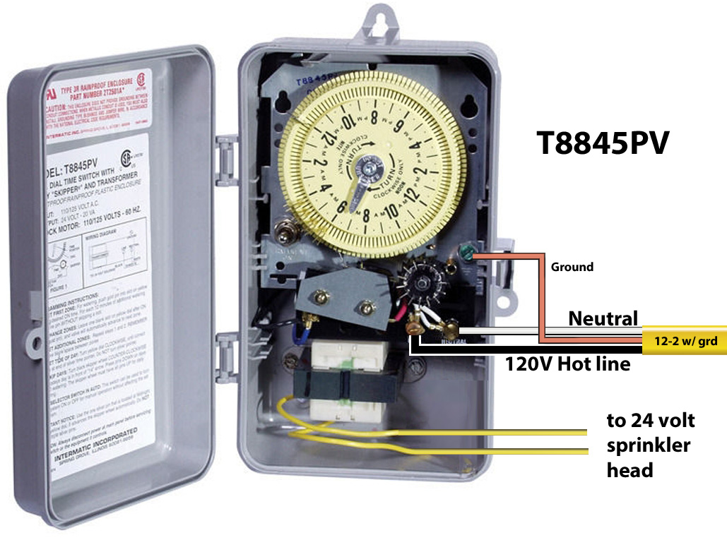 How to wire Intermatic sprinkler and irrigation timers and manuals Wiring Diagram For Intermatic Timer on intermatic hb800rch outdoor digital timer, wiring diagram for water heater, wiring diagram for pool timer, wiring diagram for defrost timer, wiring diagram for tork timer,