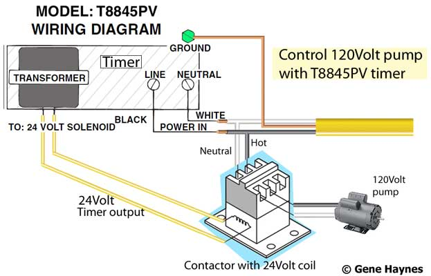 T8845PV wiring 120Volt pump 400 contactors timer and contactor wiring diagram at alyssarenee.co